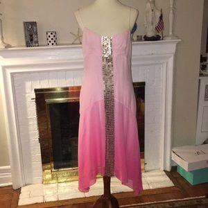 Bcbg maxazria gold sequins silk dress